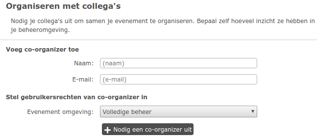 Mede organisator toevoegen