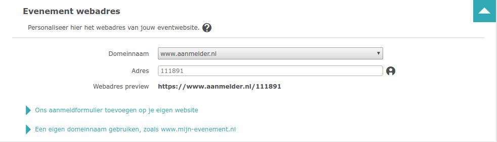 Webadres instellen