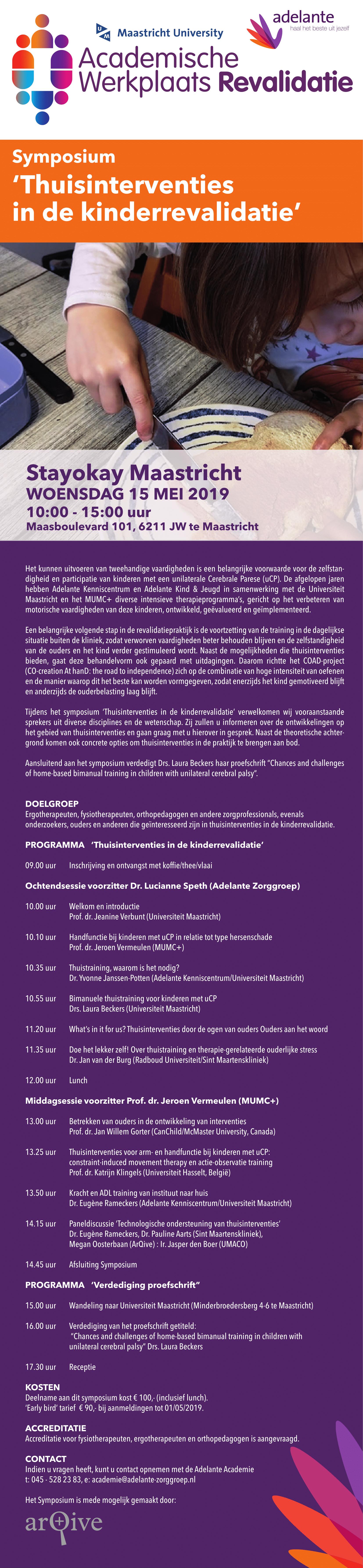 Informatie Symposium 'Thuisinterventies in de Kinderrevalidatie'
