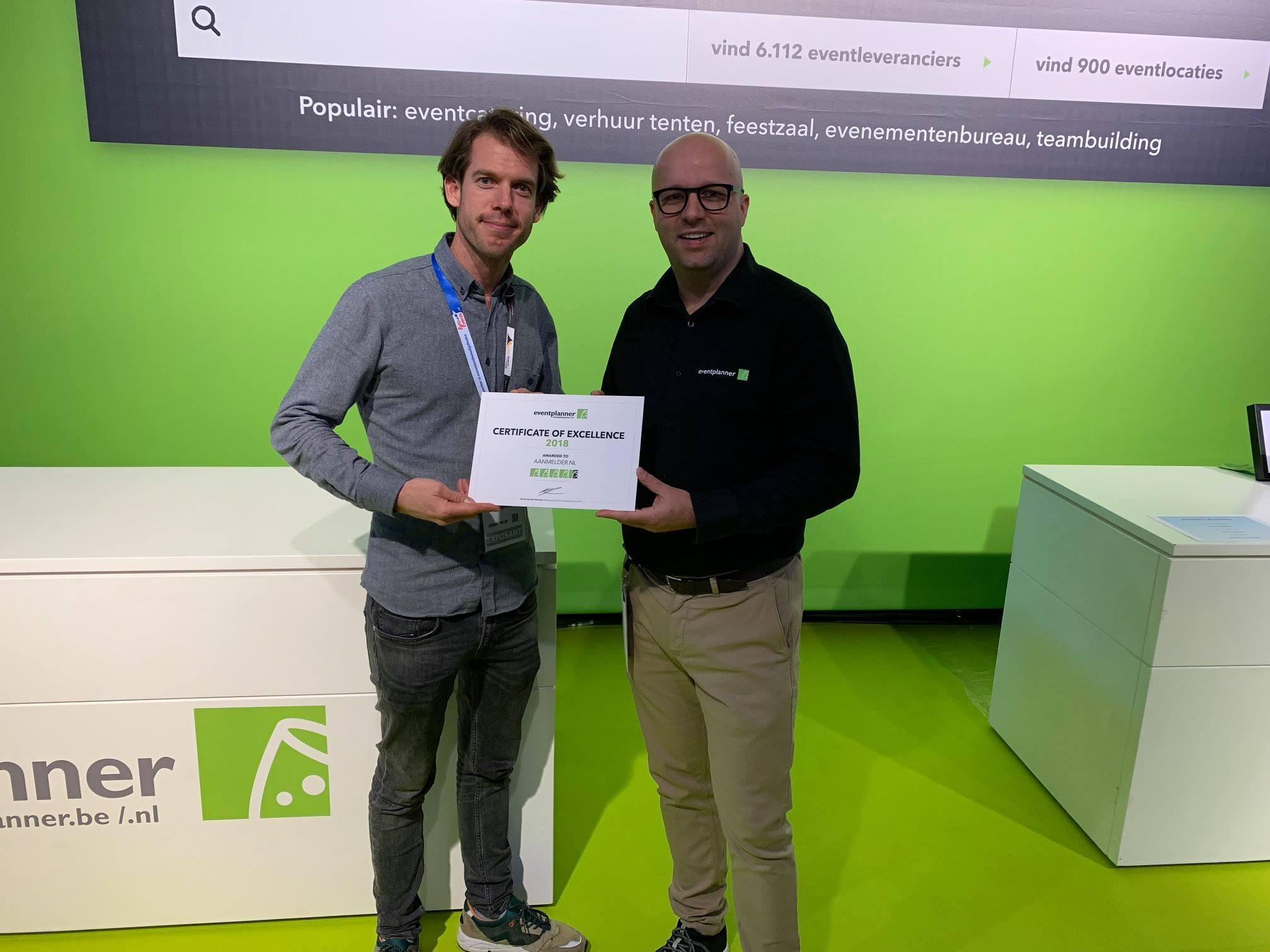 aanmelder.nl ontvangt het Certificate of Excellence 2018