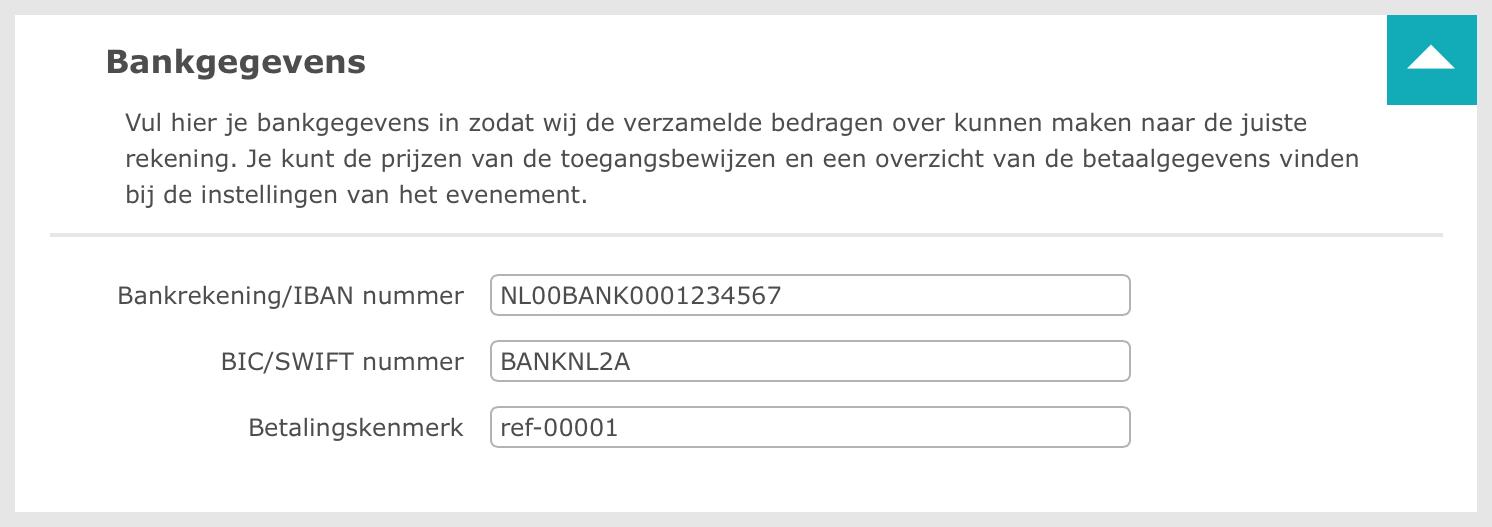 Bankgegevens instellen